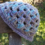 crocheted baby cloche made from mohair blend yarn. Purple and blues ON SALE!!