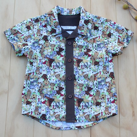 Boy's Button Up Shirt - Cats and Dogs - Size 3