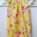 'Summer Rose' Yellow Seaside Baby Romper / Playsuit  Size 0 (6 - 12 months)