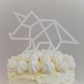 Dinosaur cake topper - Triceratops - White acrylic