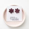 Statement Flower Stud Earrings in Marbled Wine