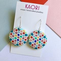 Polymer clay earrings, statement earrings in rainbow confetti