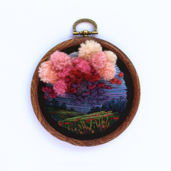 Sunset Meadow Hand Embroidered Art in Hoop