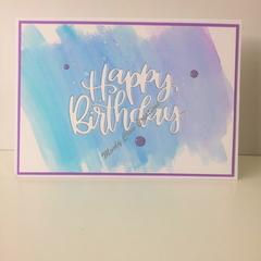 "Happy Birthday 5""x7"" Card - Light Teal/Blue/Violet Background - Handmade"