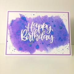 "Happy Birthday 5""x7"" Card - Blue/Violet/Purple Background - Handmade"