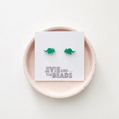 Green Glitter Dino Acrylic Stud Earrings