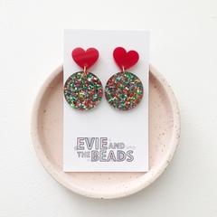 Confetti Heart Statement Acrylic Earrings