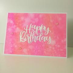 "Happy Birthday 5""x7"" Card - Raspberry/Worn Lipstick Background - Handmade"