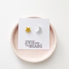 Star and Moon Acrylic Stud Earrings