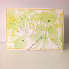 "Happy Birthday 5""x7"" Card - Lemon/Lime Background - Handmade"