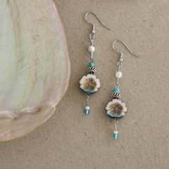 Tropical Flower Beaded Earrings
