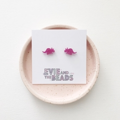 Pink Glitter Dino Acrylic Stud Earrings