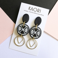 Polymer clay earrings, statement earrings in monochrome blush pink
