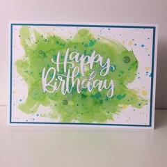 "Happy Birthday 5""x7"" Card - Green/Teal Background - Handmade"