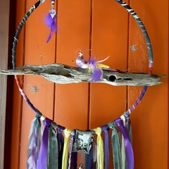 Dream Catcher Bird Spider Web Purple Lemon Grey Photo Frame Amethyst Driftwood