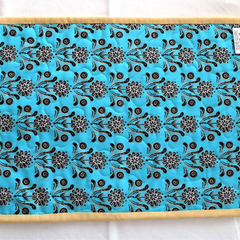 Patchwork quilted Candle Mat or Mug Rug, Snack Mat, Placemat, teal, cream, butte