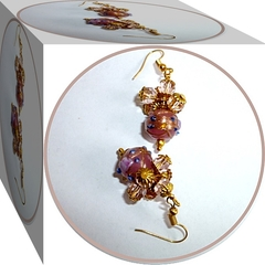 Dusky pink wedding cake bead earrings.