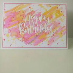"Happy Birthday 5""x7"" Card - Orange/Yellow/Pink Background - Handmade"