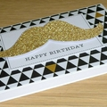 Male Happy Birthday card - gold moustache