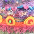 Colourful textural embellished  knitted hat /beanie for 3-6 years. One of a kind