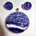 Pendant and earring set, necklace, hand painted, round bezel.