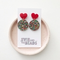 Confetti Heart Statement Acrylic Earrings