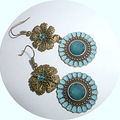 Bronze and blue earrings. 