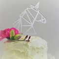 Unicorn cake topper - Silver mirror acrylic