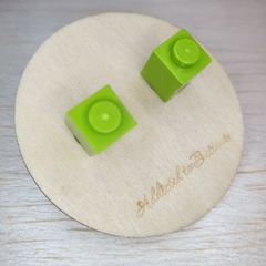 Lime 1 Dot Lego Brick - Stud Earrings