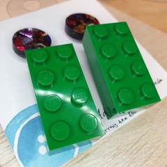 Green 8 Dot Rectangle Lego -  Dangle Earrings - Acrylic - Purple Teal