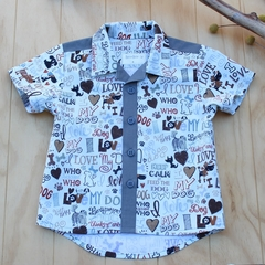 Boy's Button up Shirt - Love my Dog - Size 4