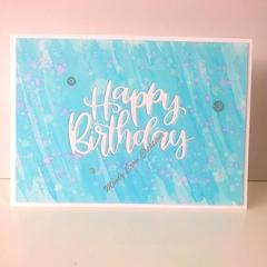 "Happy Birthday 5""x7"" Card - Light Blue/Pinky Violet Background - Handmade"