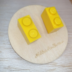 Yellow 2 Dot Lego Brick - Stud Earrings