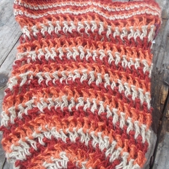 crocheted shopping carry string bag made from hemp yarn in orange, biege and mar
