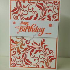 "Happy Birthday 5""x7"" Card - Red/Orange Flourish White Background - Handmade"