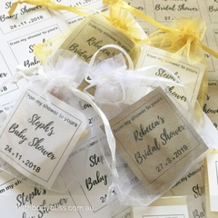 100 x Shower Favour Mini Soap Gifts ~ with DIY organza bag & kraft tag.