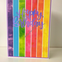 "Happy Birthday 5""x7"" Card - Multi Colour Washi Background Purple Text - Handmade"