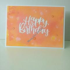"Happy Birthday 5""x7"" Card - Peachy/Orange/Pink Background - Handmade"
