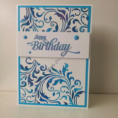 "Happy Birthday 5""x7"" Card - Blue Purple Flourish White Background - Handmade"