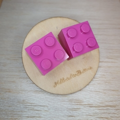 Pink Lego Brick - Stud Earrings