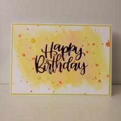 "Happy Birthday 5""x7"" Card - Lemon/Orange - Handmade"
