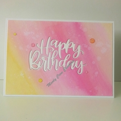 "Happy Birthday 5""x7"" Card - Yellow/Pink/Peach Background - Handmade"