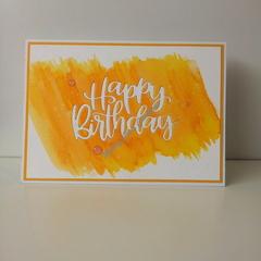"Happy Birthday 5""x7"" Card - Yellow/Orange Background - Handmade"