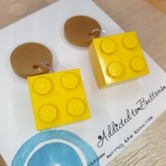 Yellow Gold 4 Dot Square Lego -  Dangle Earrings - Acrylic - Purple Teal