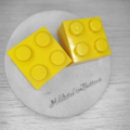 Yellow Square Lego Brick - Stud Earrings