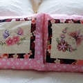 Embroidered cushion cover, pillow throw, butterfly and flowers, pink cream