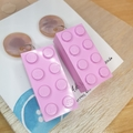 Pink 8 Dot Rectangle Lego -  Dangle Earrings - Acrylic - Purple Teal