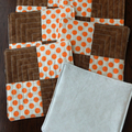 Quilted fabric coasters, drink mats, Polka Dot orange and brown fabric set of 6