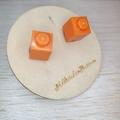 Orange 1 Dot Lego Brick - Stud Earrings