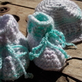 crochet baby set - boots and brimmed hat in pastels ON SALE!!!